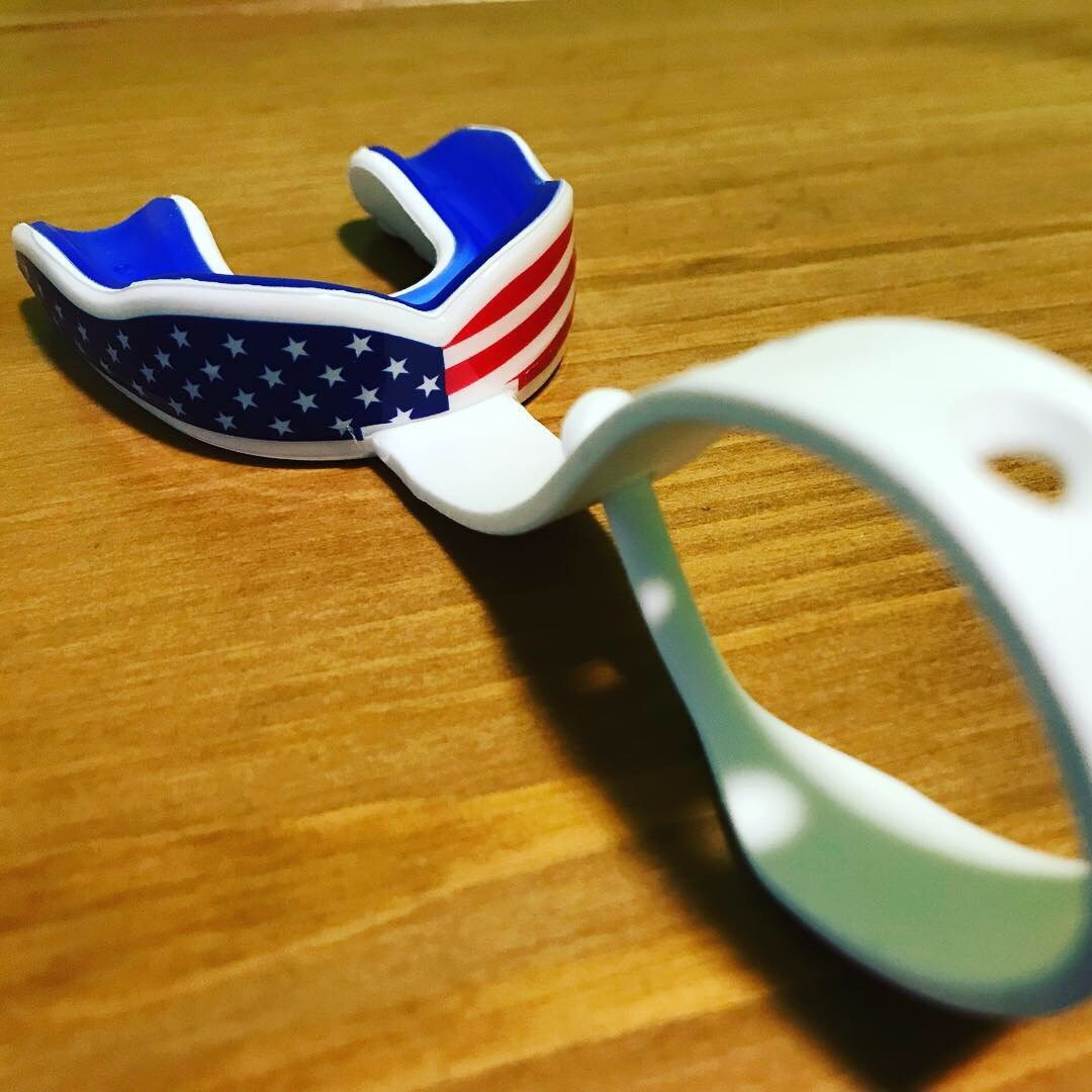 USA Flag Strapped Sports Mouth Guard