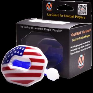 american flag football lip guard