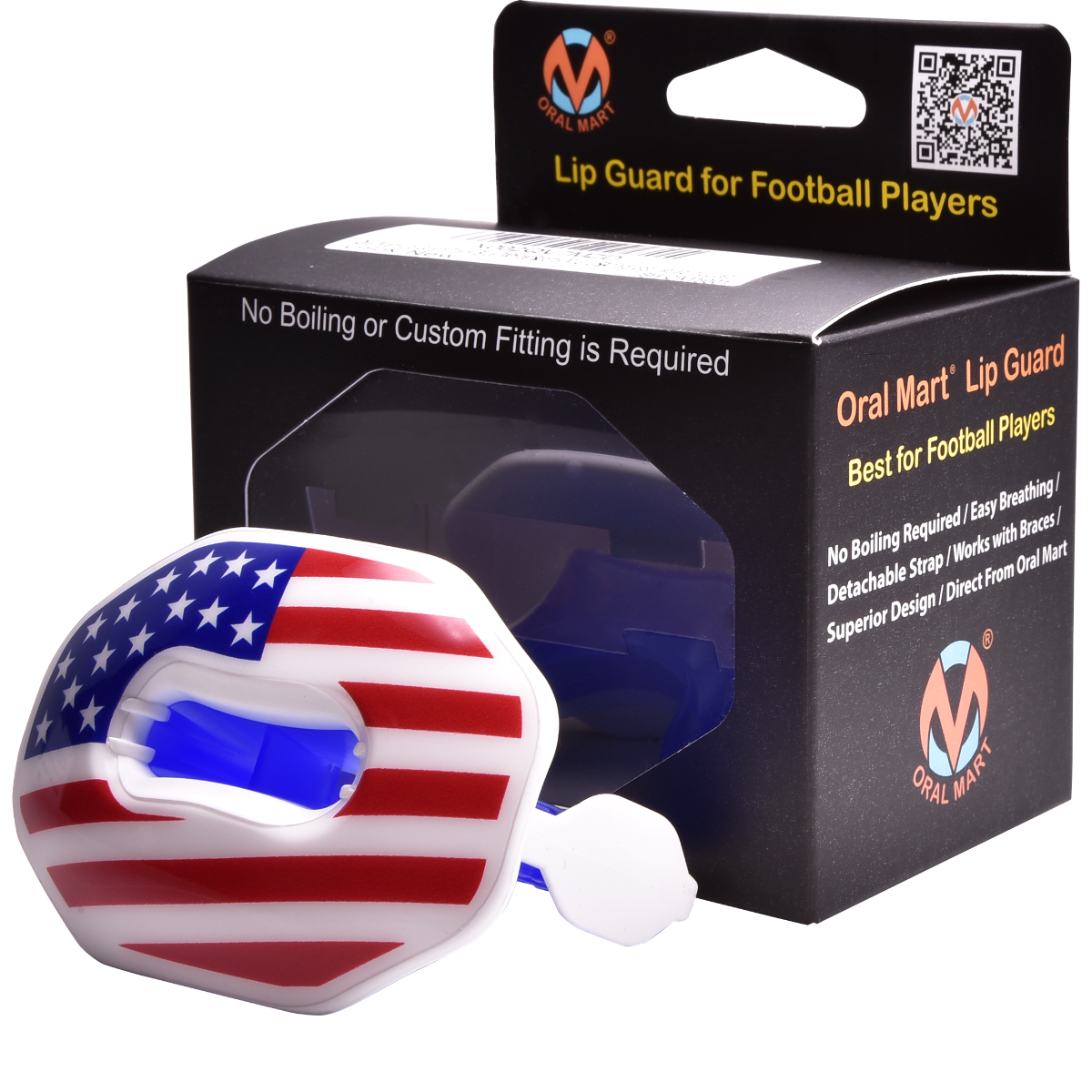american flag football lip guard