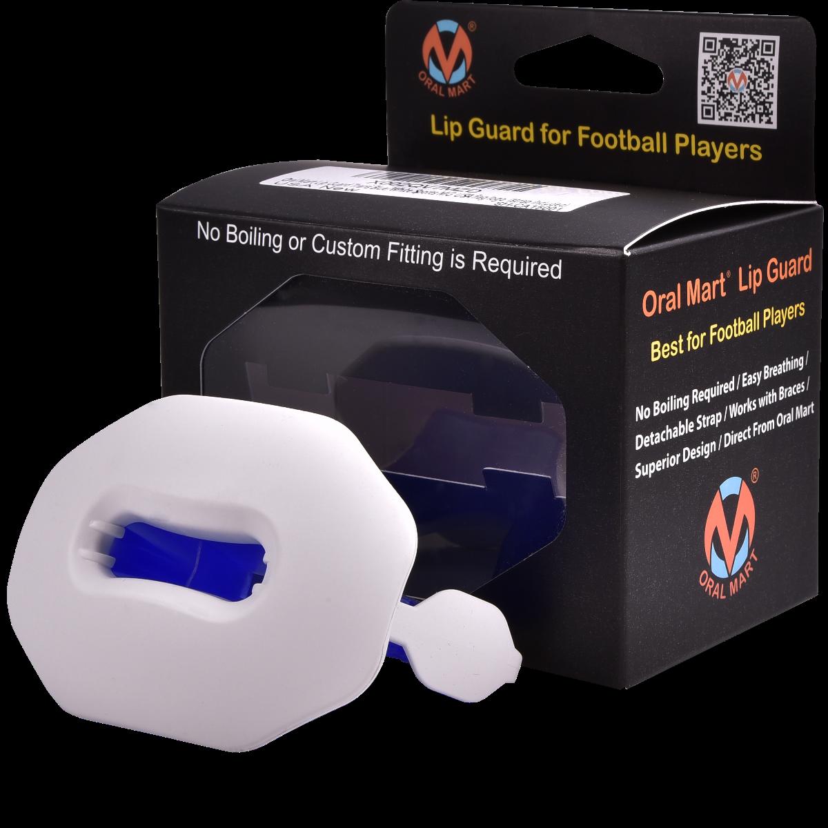 football lip guard mouthpiece white and blue